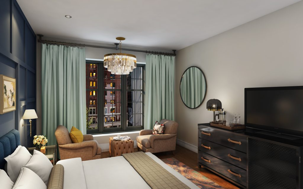 The Ramble Hotel Denver Guest room rendering